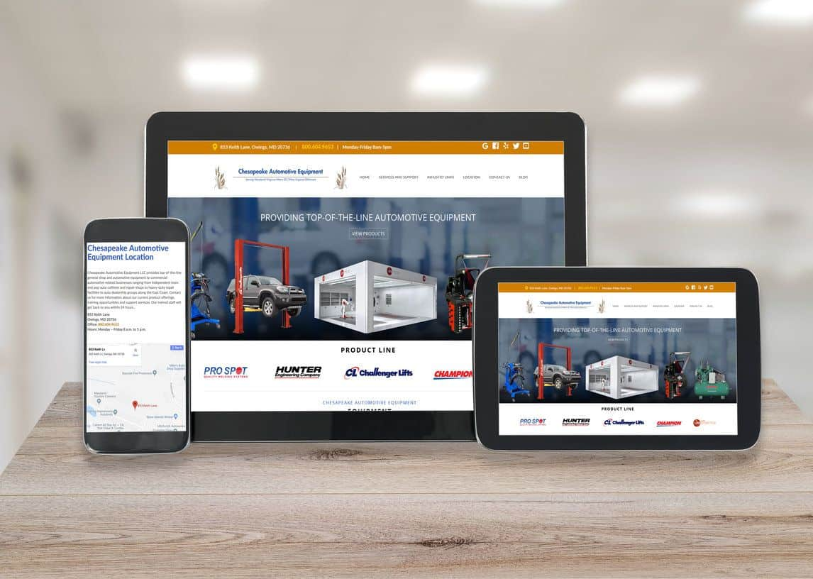 Chesapeake Automotive Equipment Responsive Website