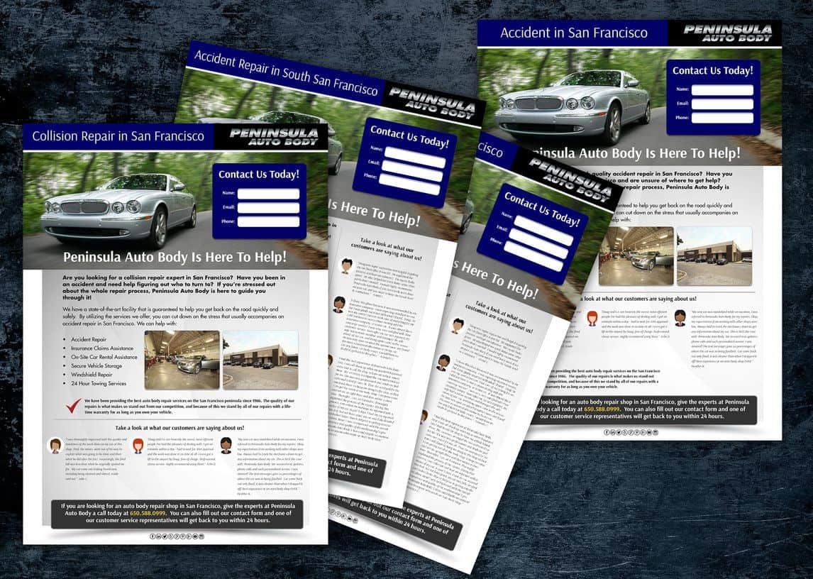 Peninsula Auto Body Landing Pages